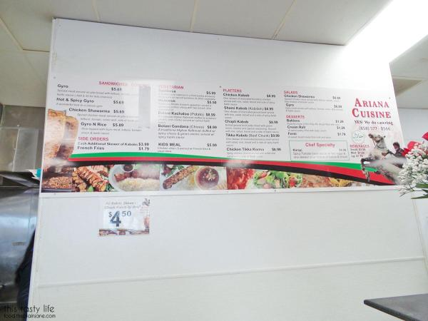 Ariana Produce and Cuisine menu