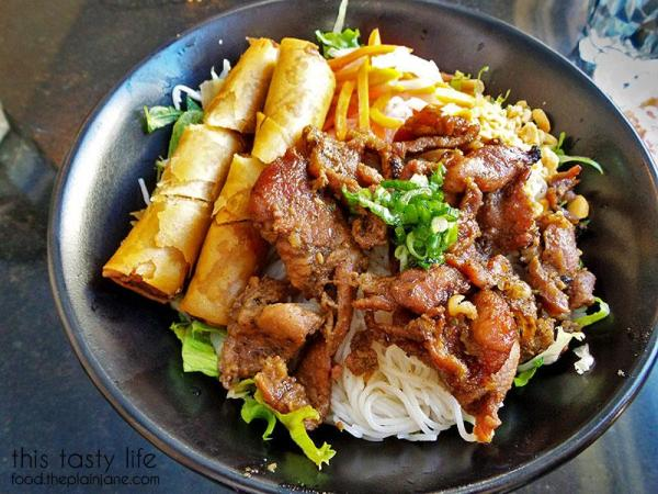 Rice vermicelli with egg rolls and bbq pork at Pho Cow Cali | San Diego, CA