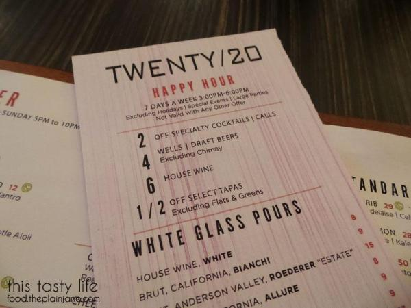 Twenty/20 Happy Hour Menu | Carlsbad, CA - This Tasty Life