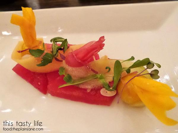 Watermelon with pickled fruit salad at Twenty/20 | Carlsbad, CA - This Tasty Life