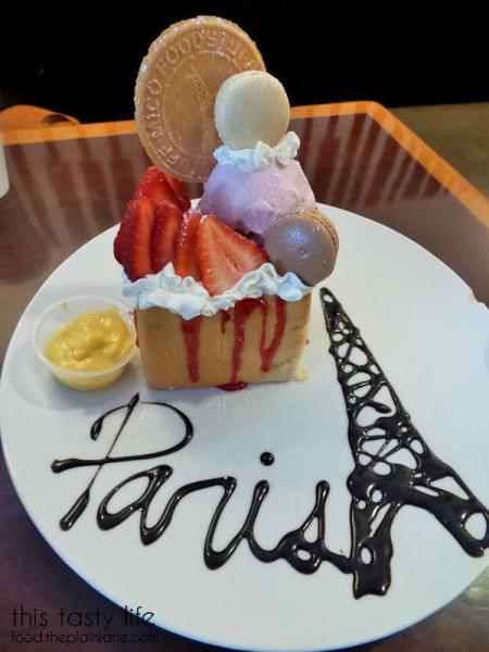 Paris Dessert - Shibuya Honey Brick Toast with strawberry ice cream, strawberries, macarons, strawberry sauce and more at T-Pop Desserts & More | San Diego, CA