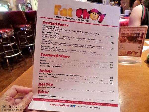 Menu Side Two at Fat Choy | Las Vegas, NV