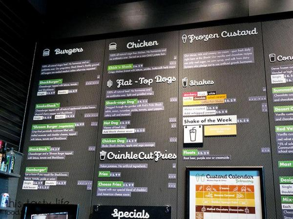 Menu - Shake Shack - | Las Vegas | This Tasty Life - http://food.theplainjane.com