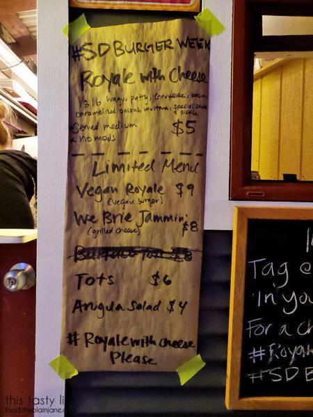 Menu at Royale with Cheese | San Diego Burger Week 2016 | This Tasty Life