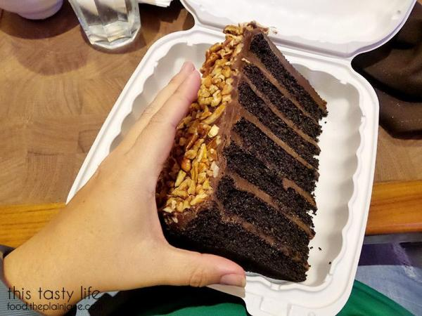 Giant Slice of 7-Layer Chocolate Fudge Cake at The Cafe at Harrah's Rincon Casino | Valley Center, CA