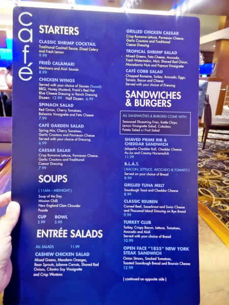 Menu Page 2 at The Cafe at Harrah's Rincon Casino | Valley Center, CA