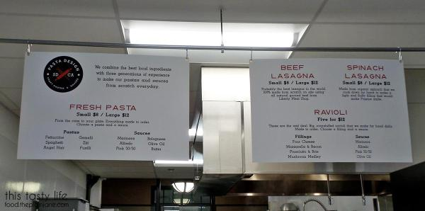 Menu at Pasta Design in Liberty Public Market | Libtery Station - San Diego, CA
