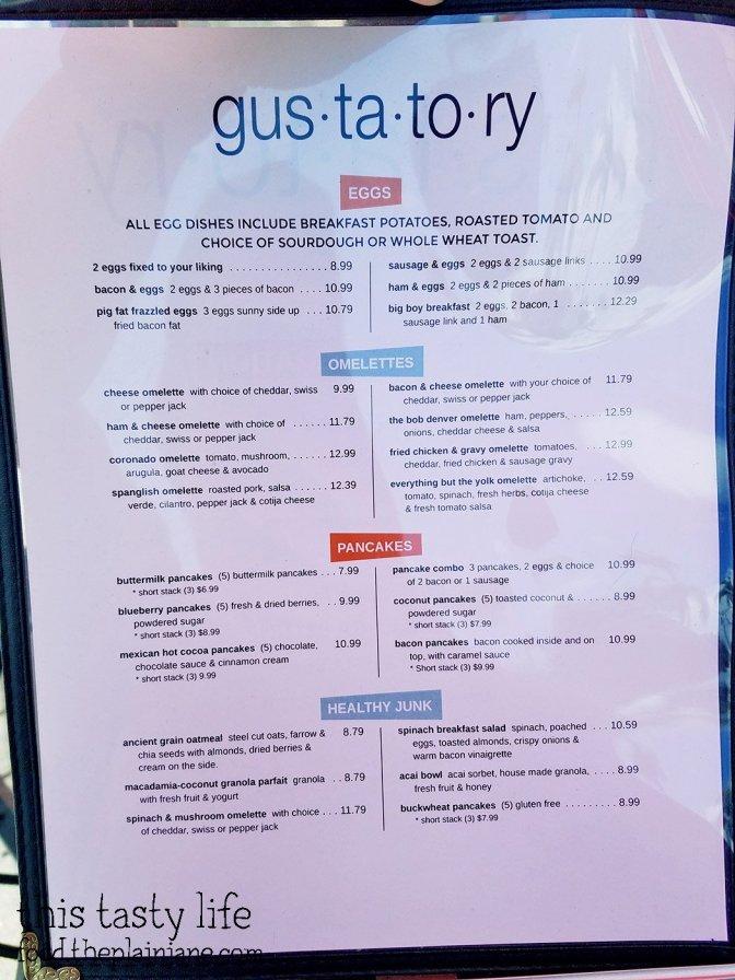 Menu - Gustatory | Coronado, CA