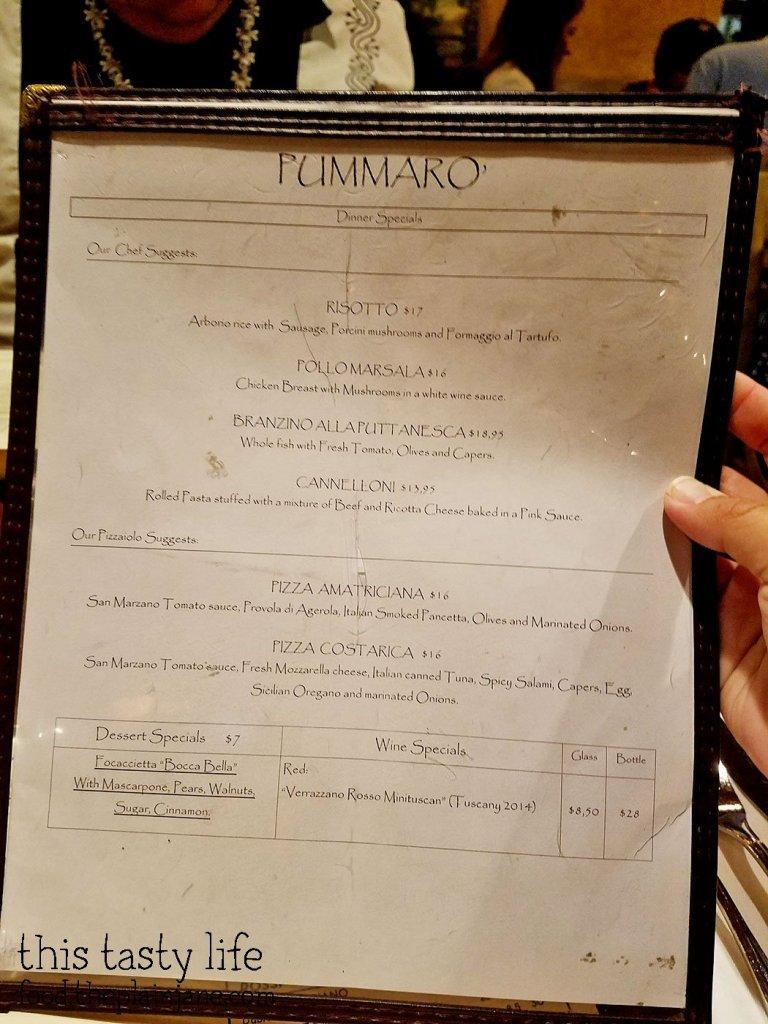 Dinner Specials Menu at Pummaro | San Diego, CA