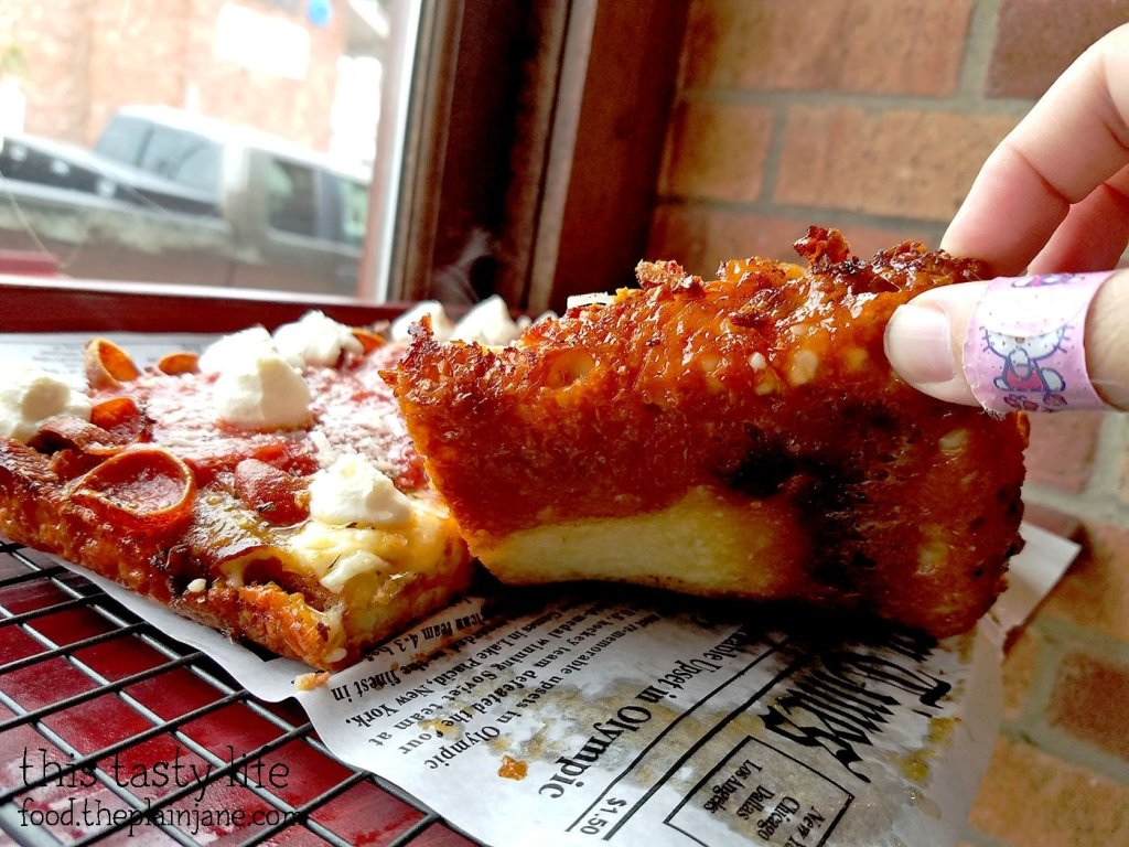 A good luck at the crust on the Detroit Style Pizza at Square Pizza Co - Pacific Beach - San Diego, CA | This Tasty Life