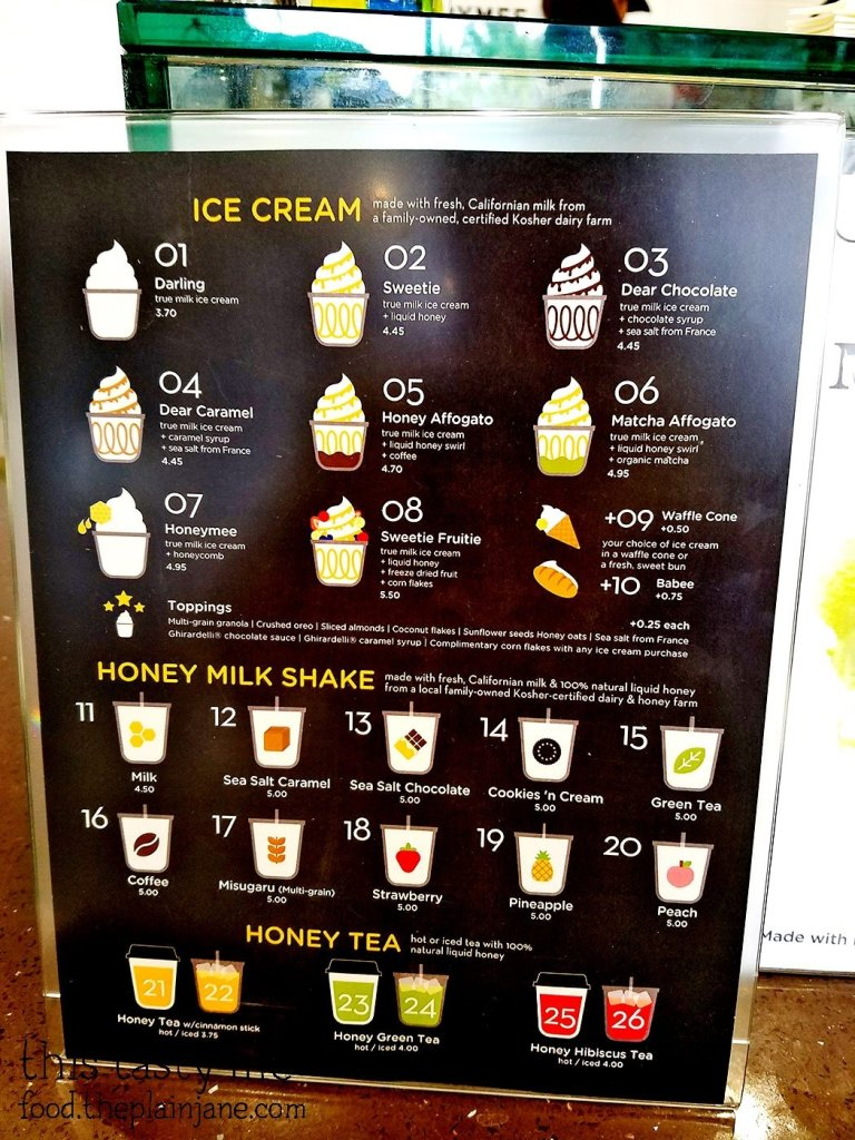Menu at Honeymee | Irvine, CA | This Tasty Life