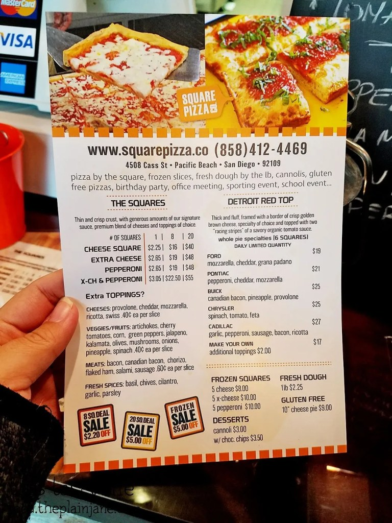 They offer three different styles of pizza on the menu at Square Pizza Co - Pacific Beach - San Diego, CA | This Tasty Life