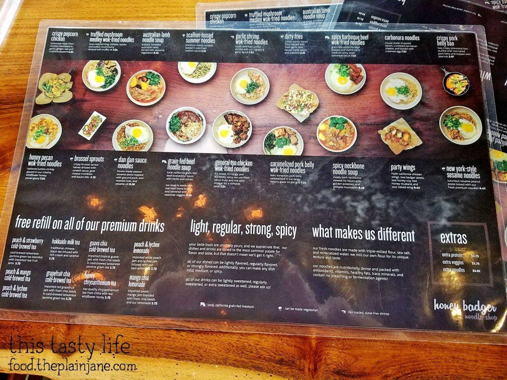 The menu at Honey Badger Noodle Shop - Los Angeles, CA | This Tasty Life