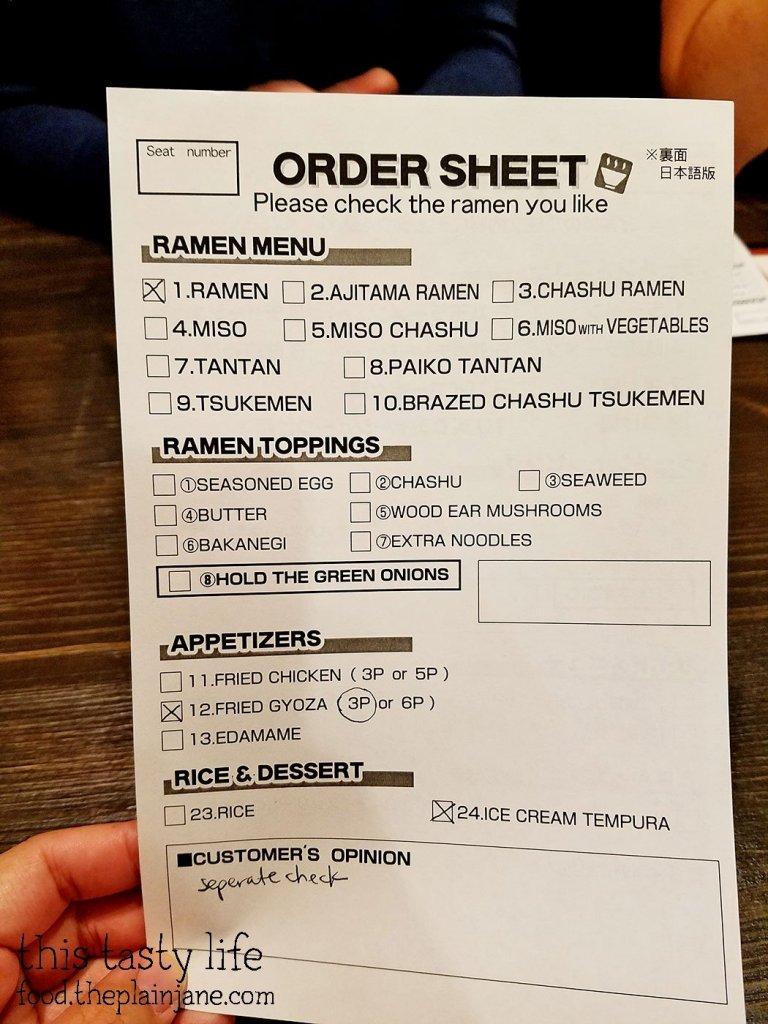 Order sheet at Menya Ultra | San Diego, CA