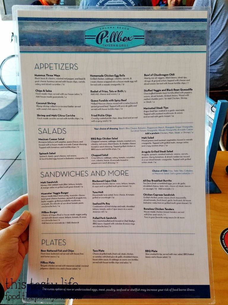 Menu at Pillbox Tavern | Solana Beach - San Diego, CA