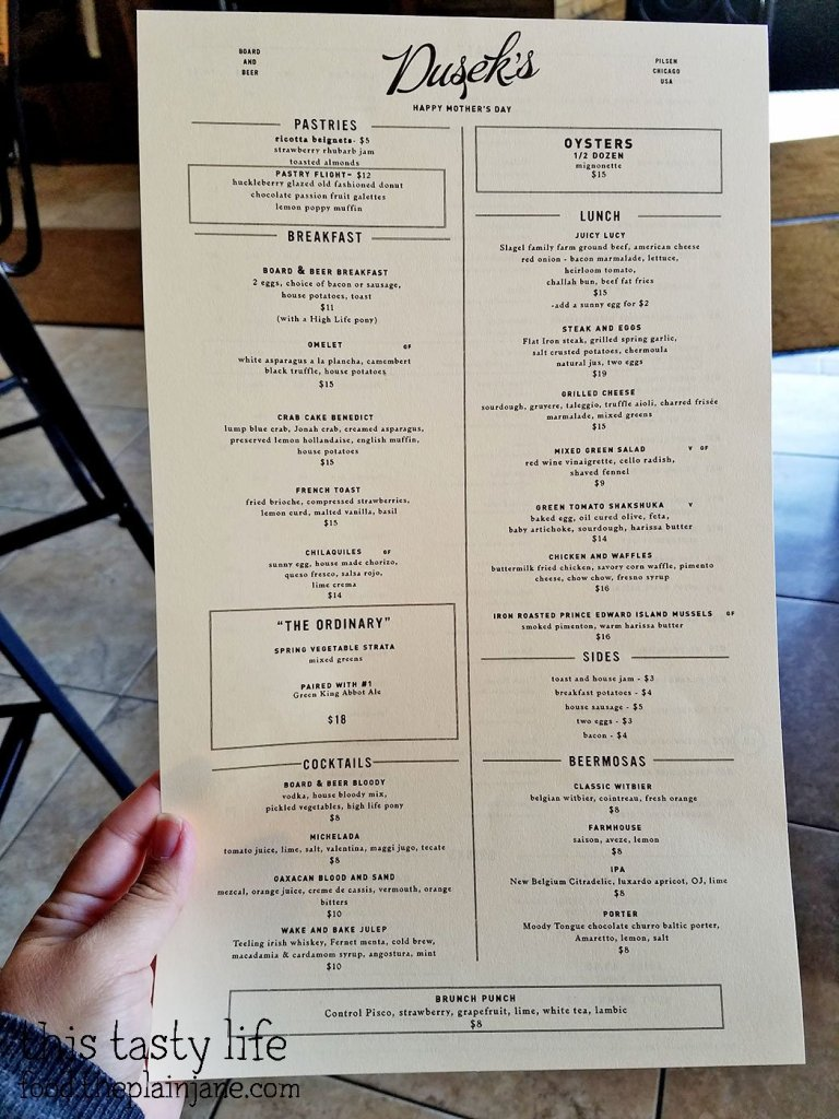 Brunch Menu at Dusek's - Chicago, IL