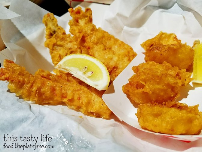 Jumbo Shrimp and Fried Scallops at Mister Fish and Chips in San Diego, CA