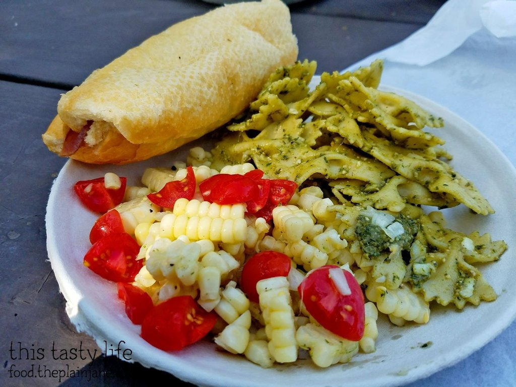 Corn Salad and Pesto Pasta