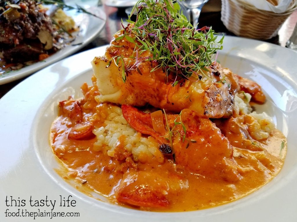 Sea Bass with Risotto and Lobster - Osteria Panevino in San Diego, CA