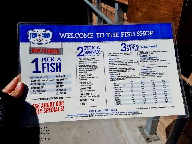 Menu at Point Loma Fish Shop - San Diego, CA
