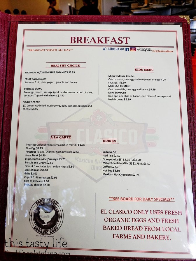 Breakfast Menu at El Clasico Diner - Lemon Grove, San Diego, CA