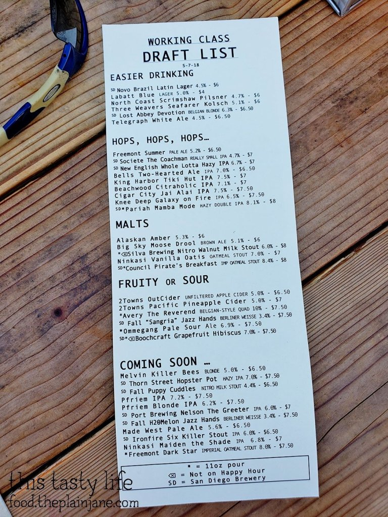Draft List at Working Class - North Park - San Diego, CA