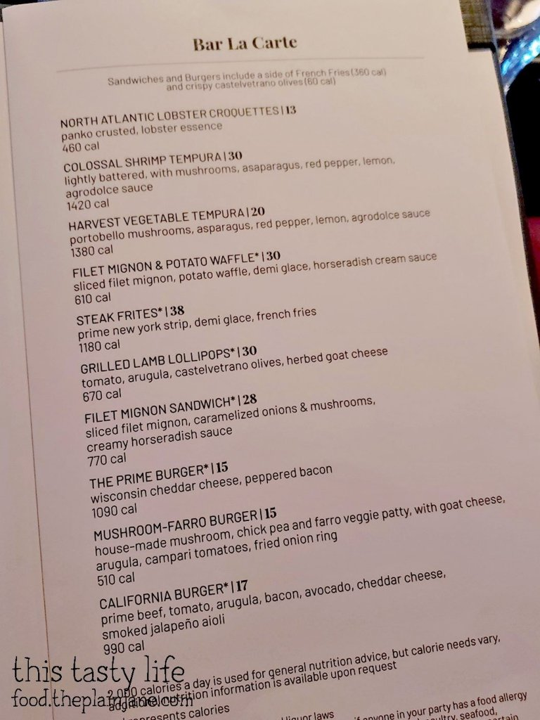 Bar Menu at Fleming's Prime Steakhouse - La Jolla, CA