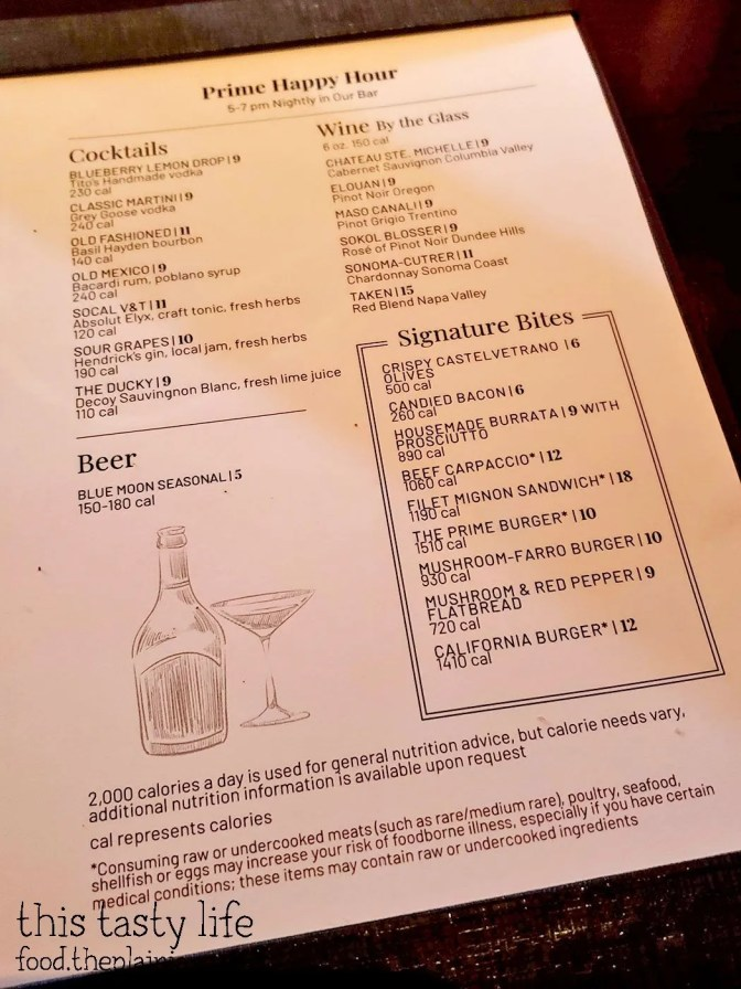 Happy Hour Menu at Fleming's Prime Steakhouse - La Jolla, CA