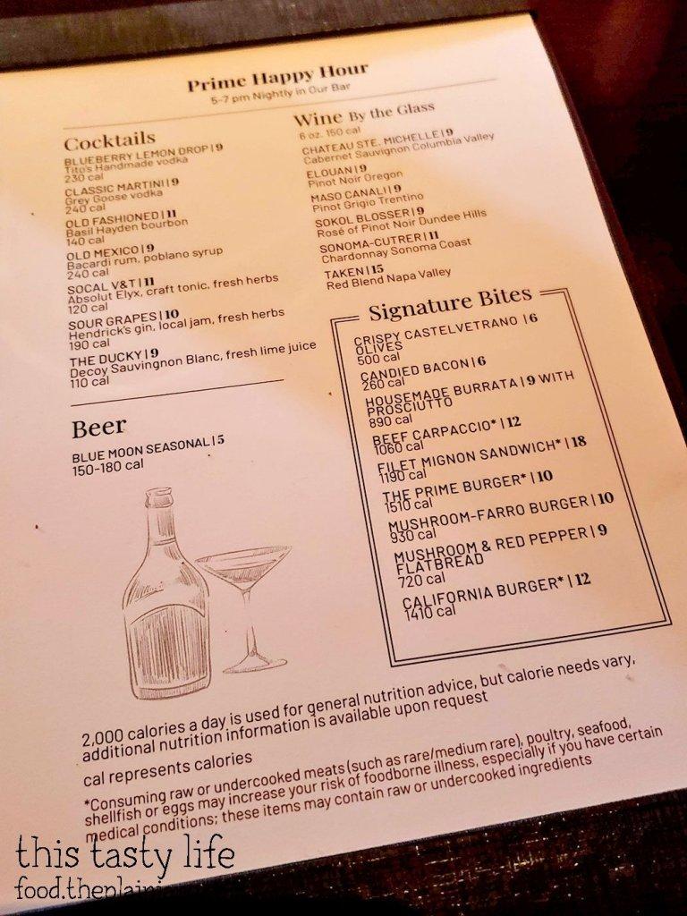 Happy Hour Menu at Fleming's Prime Steakhouse - La Jolla, CA