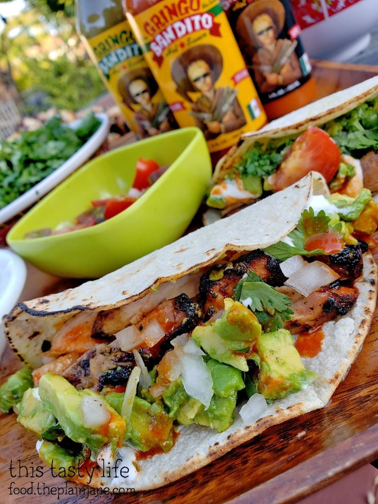 Homestyle Grilled Chicken Tacos with Gringo Bandito Hot Sauce