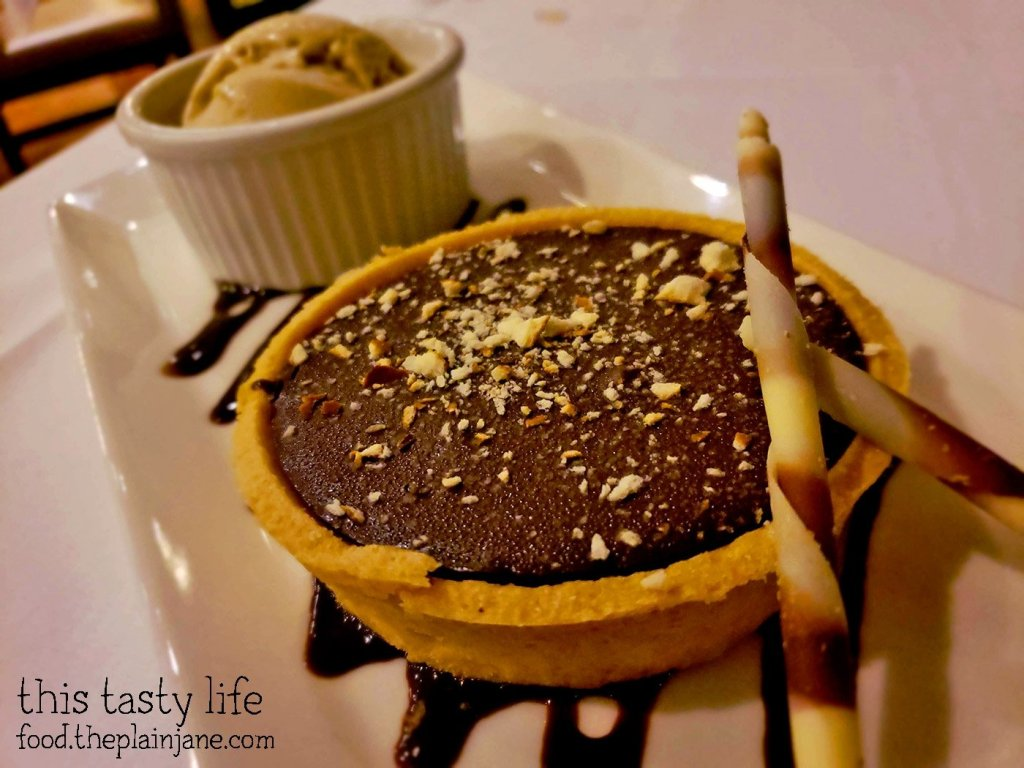 Chocolate Caramel Pretzel Tart with Chai Ice Cream at La Gran Terraza at USD - San Diego, CA