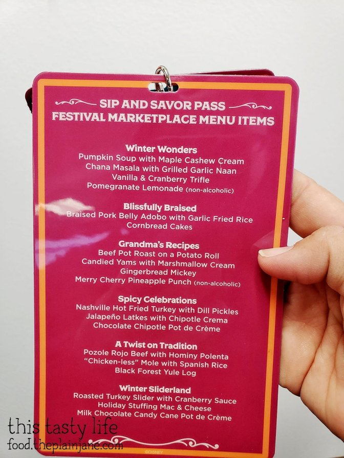 Menu at Festival of Holidays - Disney California Adventure