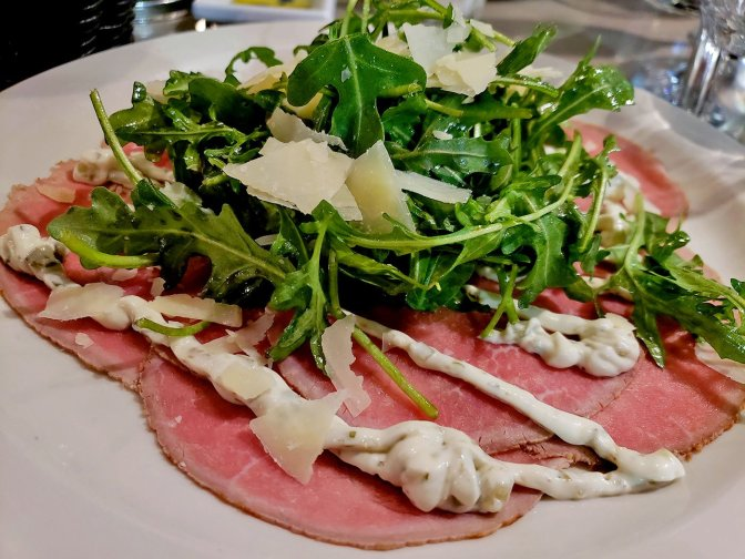 Arugula and Carpaccio at Soleluna Cafe - San Diego, CA