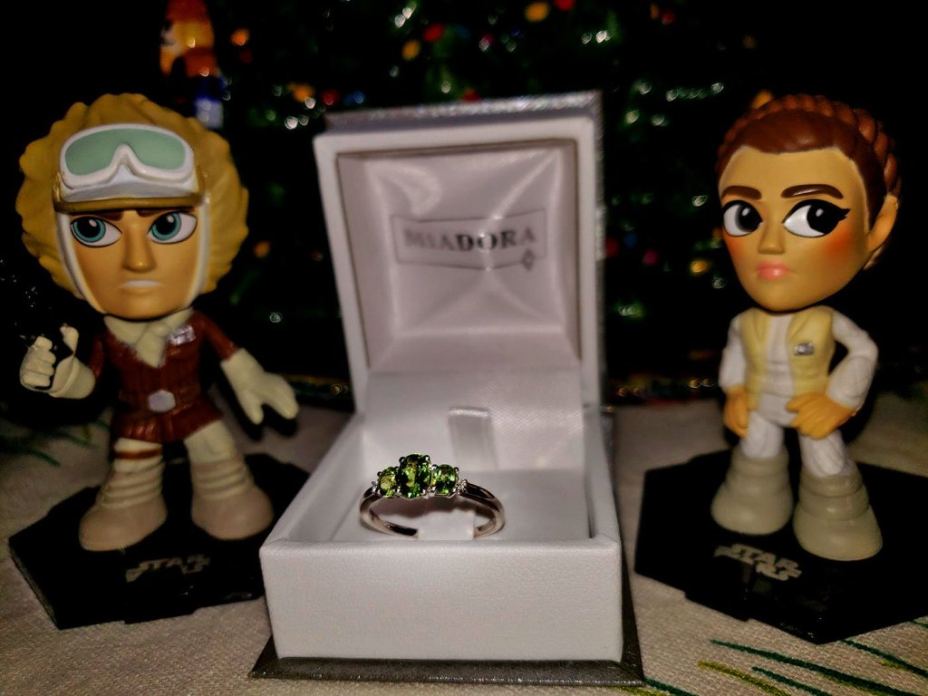 Han & Leia plus my peridot engagement ring
