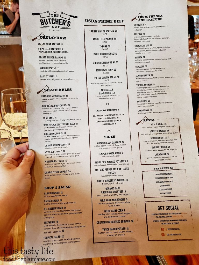 Food Menu - The Butcher's Cut Steakhouse - San Diego, CA