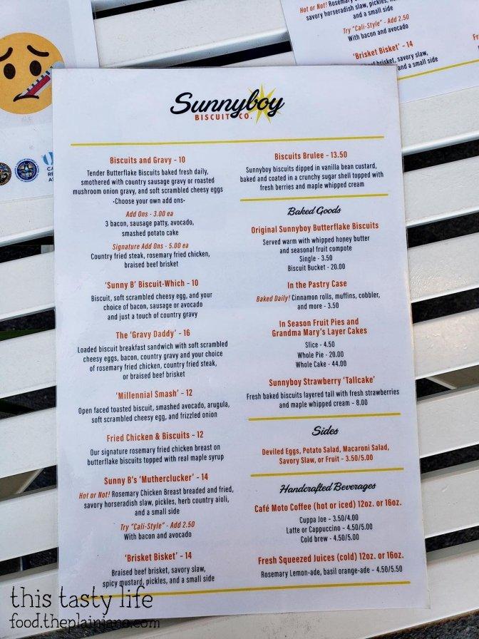 Sunnyboy Biscuit Company Menu