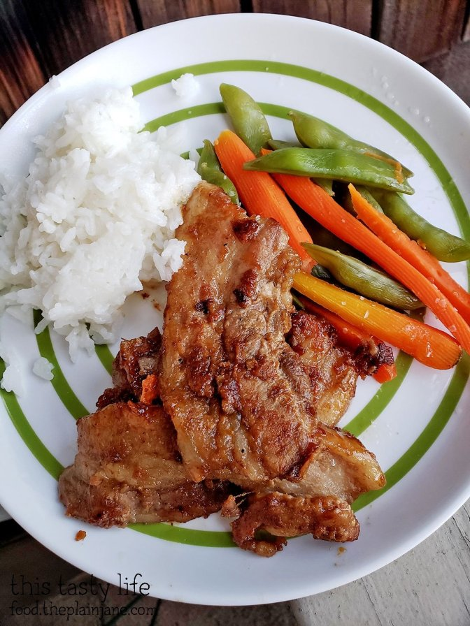 Korean Style Pork Belly with veggies and rice