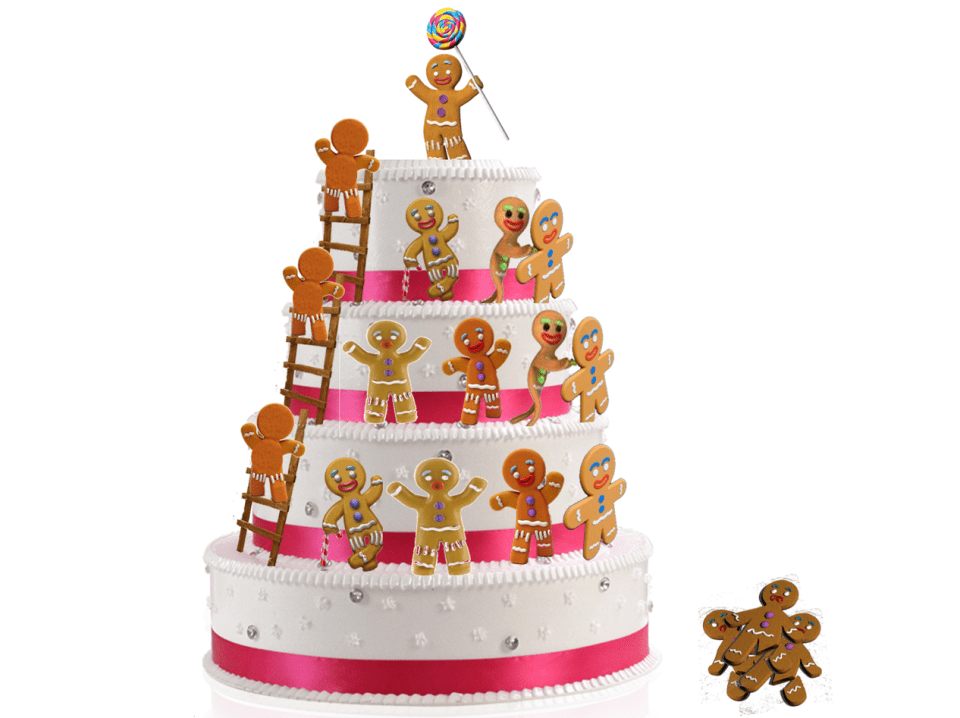 gingerbread men climbing a wedding cake. Up or out model : a lot of them will fall, pushed by the others
