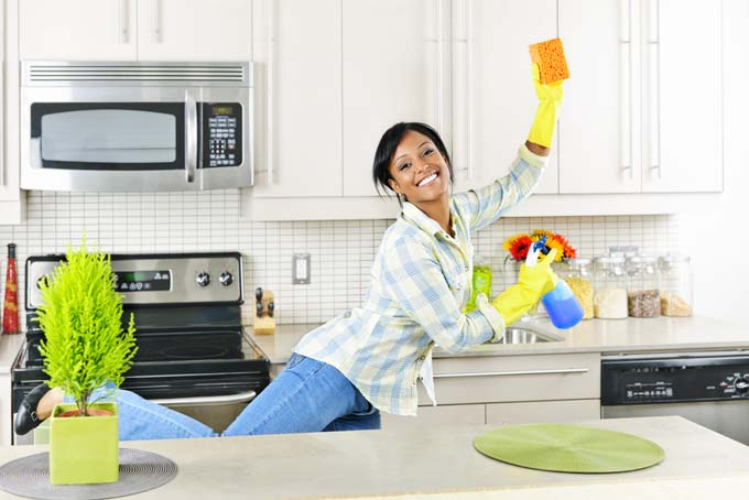 Attractive Young Femaing Dancing Kitchen Exercise Burn