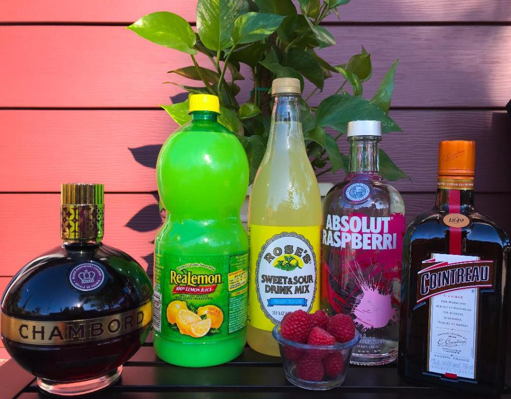 Ingredients for Raspberry Bliss Martini