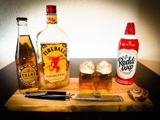 The Cinnamon Roll Shot made with Fireball, Boyland's Creme Soda, Whip Cream, and fresh Nutmeg.