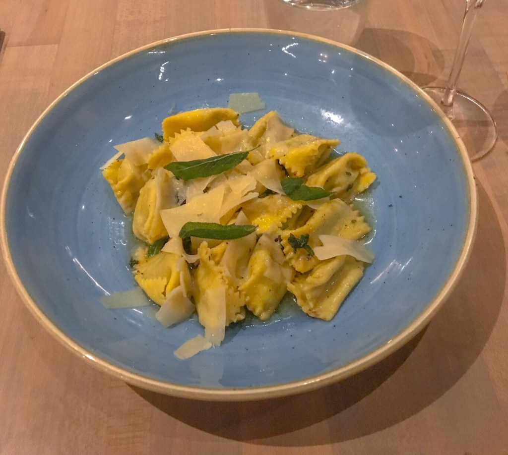 The Agnolotti at Chow Morso Osteria in Denver, CO is made with a traditional Italian sage brown butter sauce.