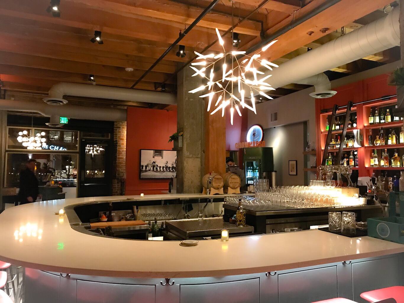 Show stopping chandelier at Chow Morso Osteria's Bar in Denver, CO