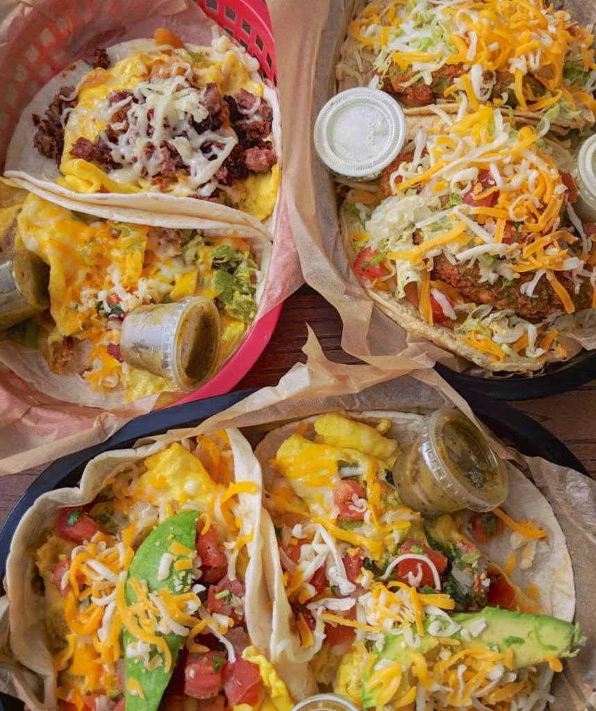Torchy's Tacos breakfast tacos including: the Migas, the Wrangler, the monk special, and the Dirty Sanchez.
