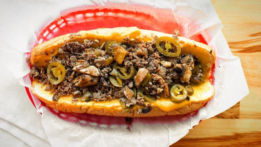 The Helton cheesesteak made with chopped ribeye, jalapenos, mushrooms, and cheez wiz from Denver Ted's Cheesesteaks in downtown Denver, CO.