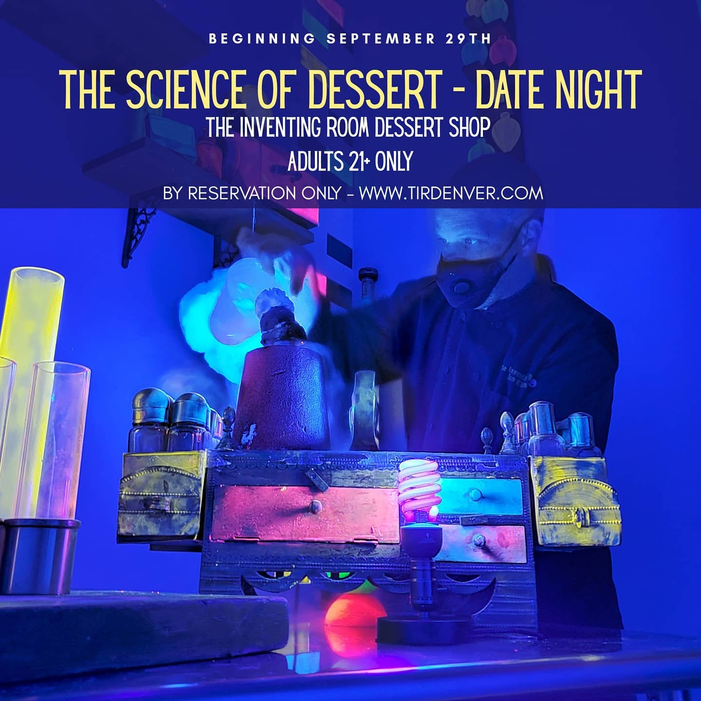 Chef Ian Kleinman demonstrating glow in the dark molecular gastronomy at The Inventing Room's pop-up The Science of Dessert - Date Night