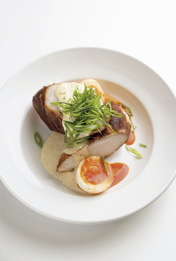 Country ham wrapped monkfish tail with a ravigote sauce