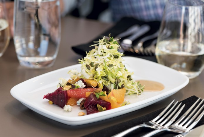 Roasted beet and citrus salad with pistachio vinaigrette