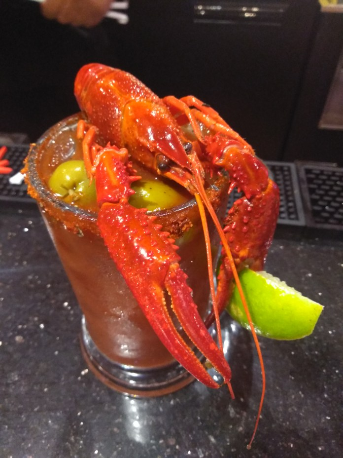 The Crawfish Bloody Mary at the Storming Crab in Clarksville, IN.