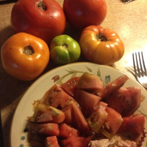 Farmer Nichols encouraged us to take the heirloom tomato centerpieces home - my breakfast this morning